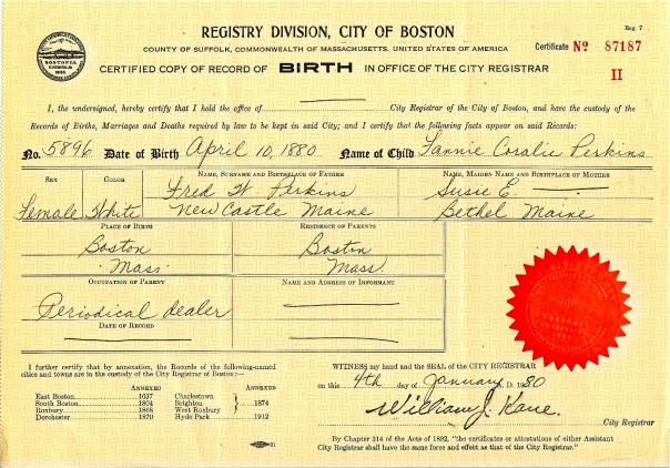 Frances Perkins's birth certificate
